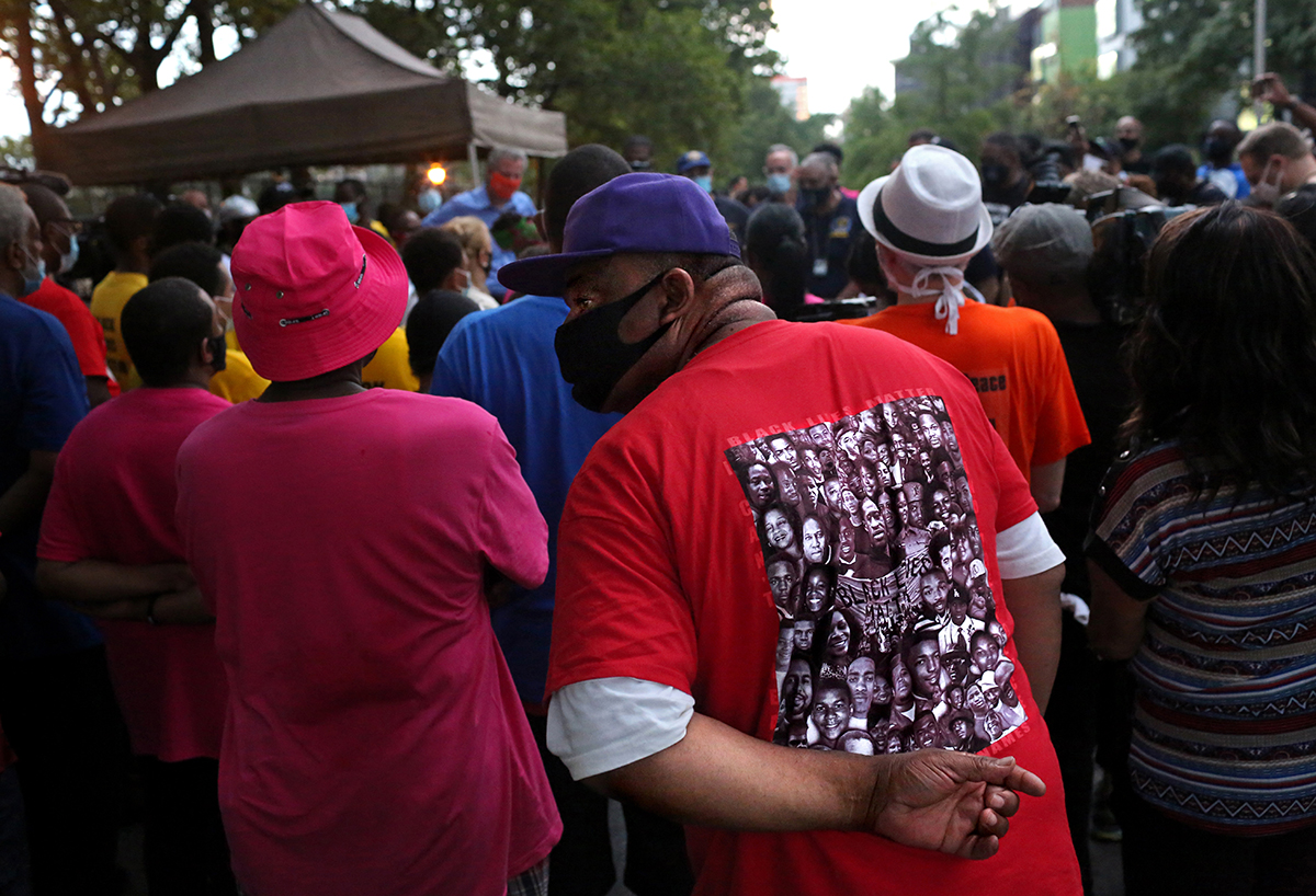 An audience listens to Mayor Bill de Blasio speak during a Street Corner Resources event against gun violence in the Harlem neighborhood of Manhattan, NY, on July 11, 2020. (Photo by Yana Paskova/For The Washington Post)