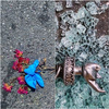(Diptych, L-R) Gloves tied to dried roses, and a broken liberty torch amongst shattered glass, during heavy protesting against police brutality in New York, June of 2020. Yana Paskova/NPR