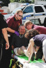 Narberth paramedics remove automobile accident victim Harry Custer for transport to Lankenau Hospital. The Victims car was stuck head on by a vehicle fleeing police in a high speed pursuit.