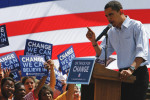 US Democratic presidential candidate Senator Barack Obama speaks to supporters at the Wynnewood Station near Philadelphia, PA. Obama took the train from Philadelphia to Downingtown, stopping at several towns along the way to deliver his campaign message.