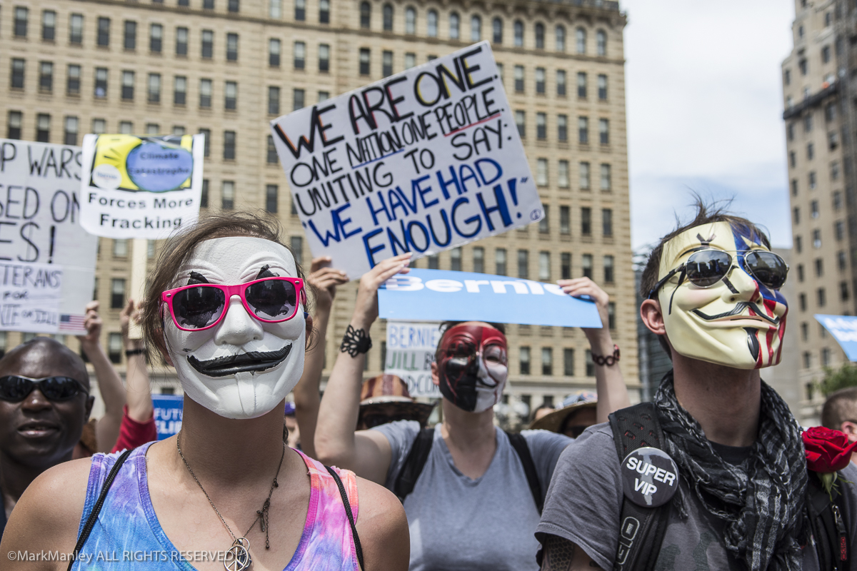 {quote} Berners,{quote} Bernie Sanders supporters who refused to follow his endorsement of Hillary Clinton, rally in Payne Plaza in Philadelphia during the DNC convention.
