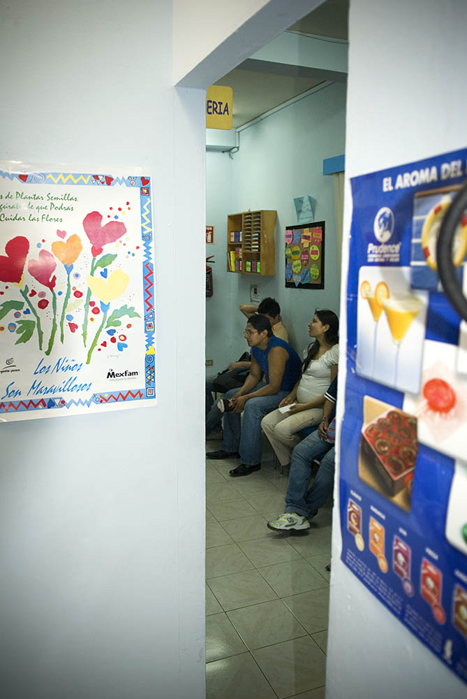 A waiting area at the clinic in the Xola section of Mexico City.