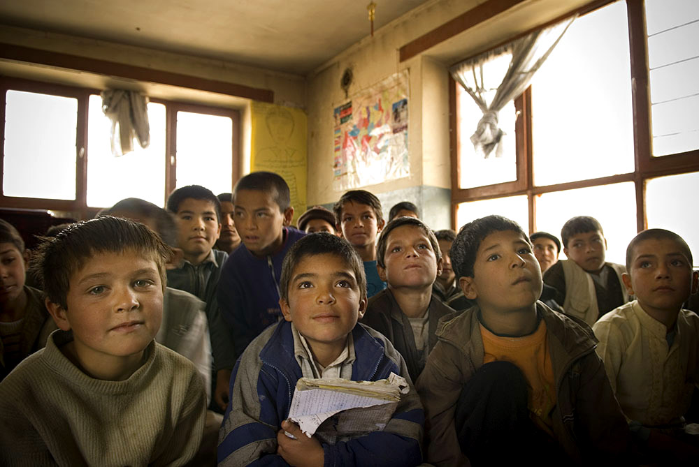 A boys' class at the AWEC center. Classes are separated by gender.
