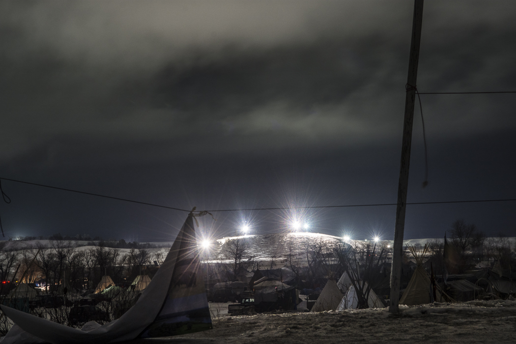DAPL floodlights seen from Oceti Sakowin camp.
