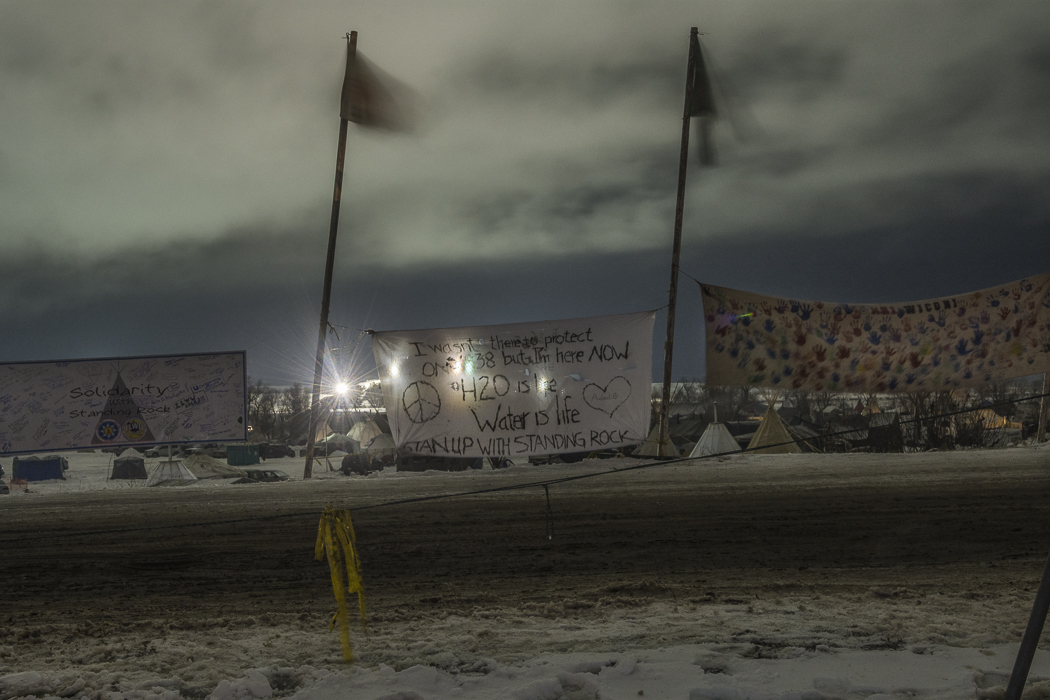 DAPL lights seen from Oceti Sakowin camp.