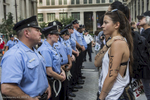 Unlike Cleveland during the RNC, Philadelphia didn't bring in  outside law enforcement during the DNC. Philadelphia also didn't bring out riot gear or militarized equipment to manage demonstrators despite the fact that demonstrations and marches in Philadelphia tended to be larger (sometimes over a thousand) than Cleveland, where demonstrations rarely rose above a few hundred.