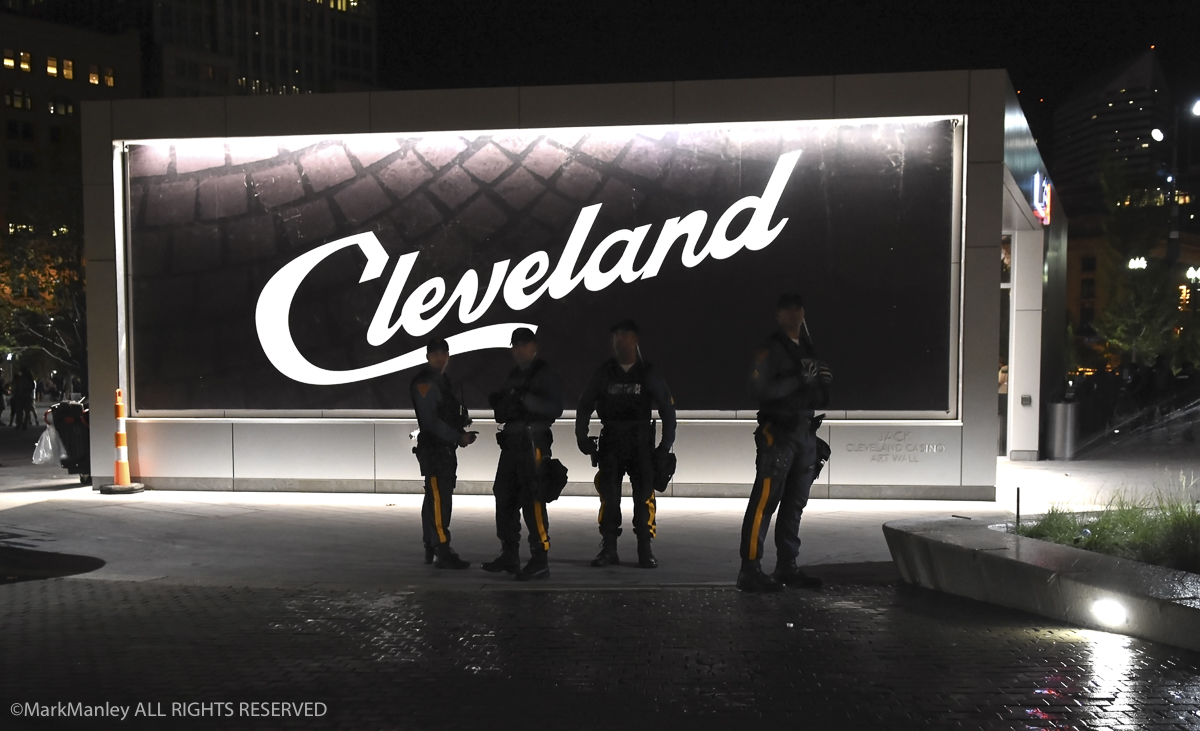 A group of California Highway Patrol on duty in Public Square. 2,800 external officers were brought in to supplement the Cleveland Police Department during the RNC.