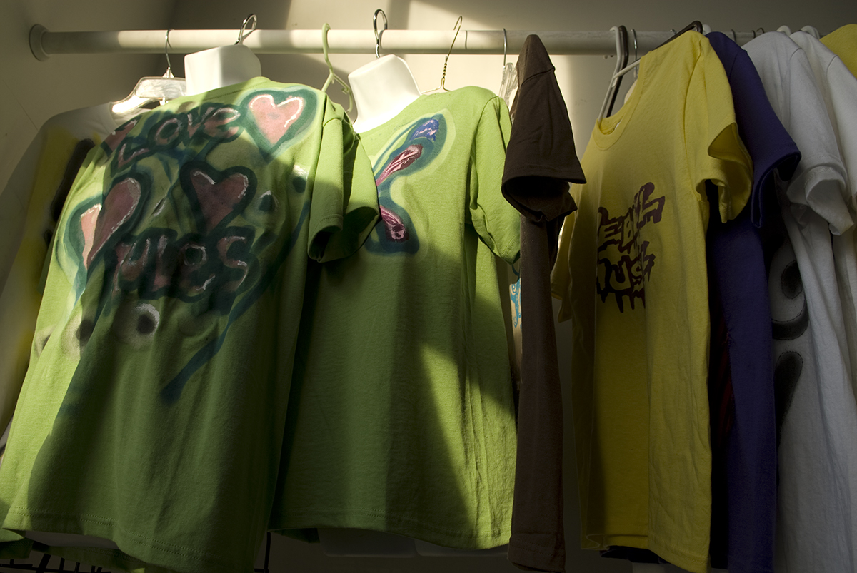 These silk screened tee shirts were created by teens and are sold in the retail space at ORNG Ink. located in the Valley Arts District, a ten block area located in the old industrial core of the Valley neighborhood on the Orange/West Orange border.