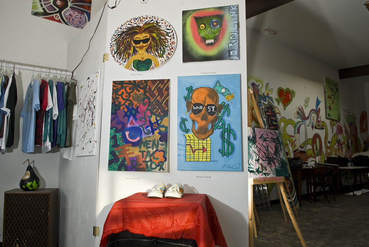 Part of the retail area at ORNG Ink. The program seeks to teach the fundamentals of marketing and  business skills to teen artists by having them staff a retail store selling their art.