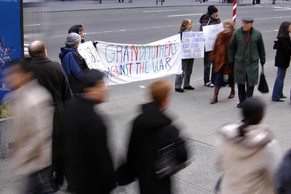 Members and supporters of Grandmothers Against the War   stand vigil on Fifth Ave. The Grandmothers gather on Fifth avenue at Rockefeller Center every Wednesday to stand vigil. They have not missed a week since their inception over five years ago.