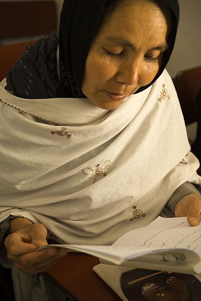 Nasrine is also an unflinching women's-rights activist. She believes completely that Afghanistans' march toward reconstruction and democratization is absolutely intertwined with addressing gender inequality and equal rights for Afghan women and men.The Roqia Center then created a unique literacy program  to address adult literacy while simultaneously addressing gender inequality through the creation of {quote}couples only{quote} classes.