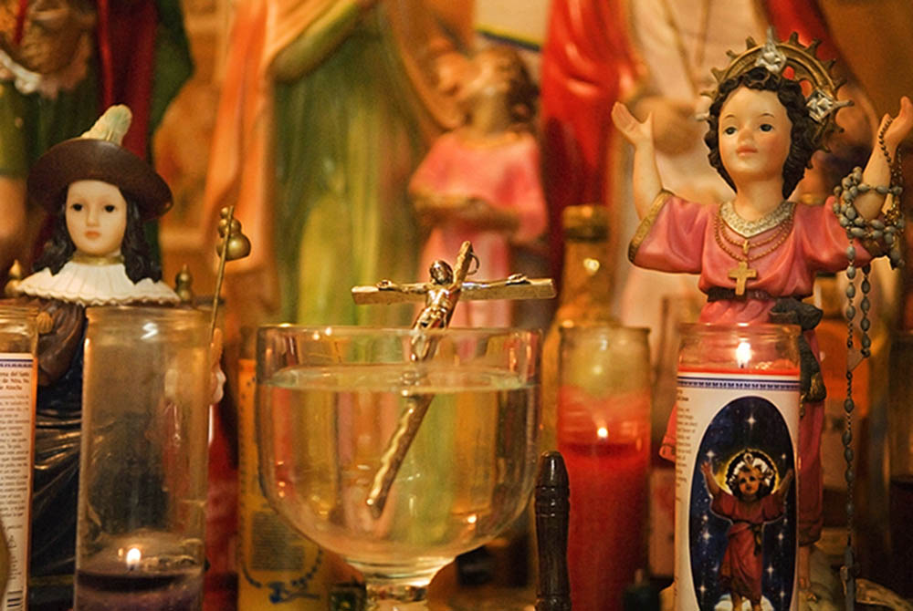 Detail of one of the altars in the basement of Botanica Santa Ana.