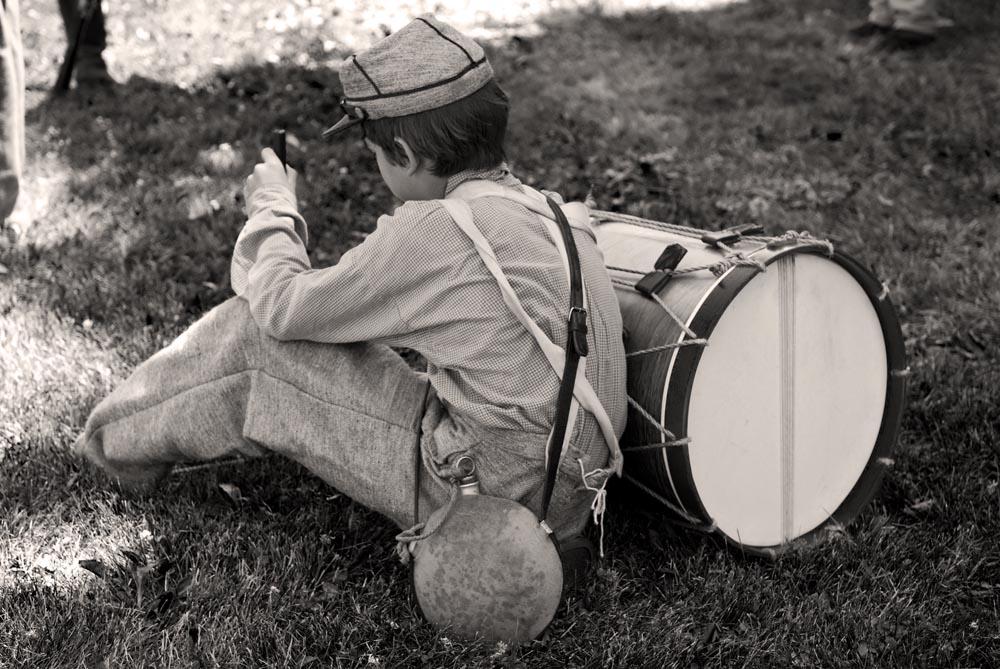 Drummer boy resting.