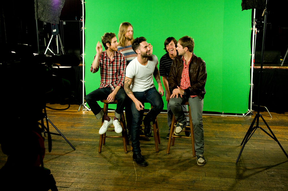 The Maroon 5 band members, Adam Levine, Jesse Carmichael, Mickey Madden, James Valentine and Matt Flynnjoking around before their on camera interview and sound bytes.