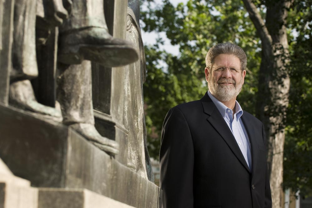 Chuck Scholz, former mayor of Quincy, IL and a local history buff, photographed in front of the town's Washington Square statue commemorating the 6th debate site between Lincoln and Douglas.  {quote}The debate was the biggest thing that ever happened here.{quote}