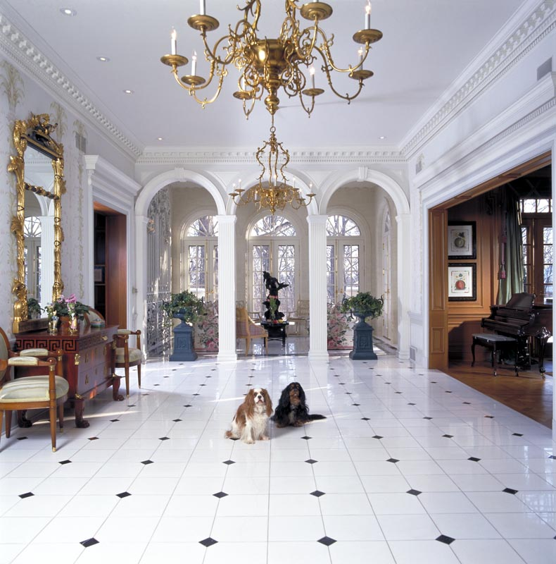 Barrington home and foyer with dogs.
