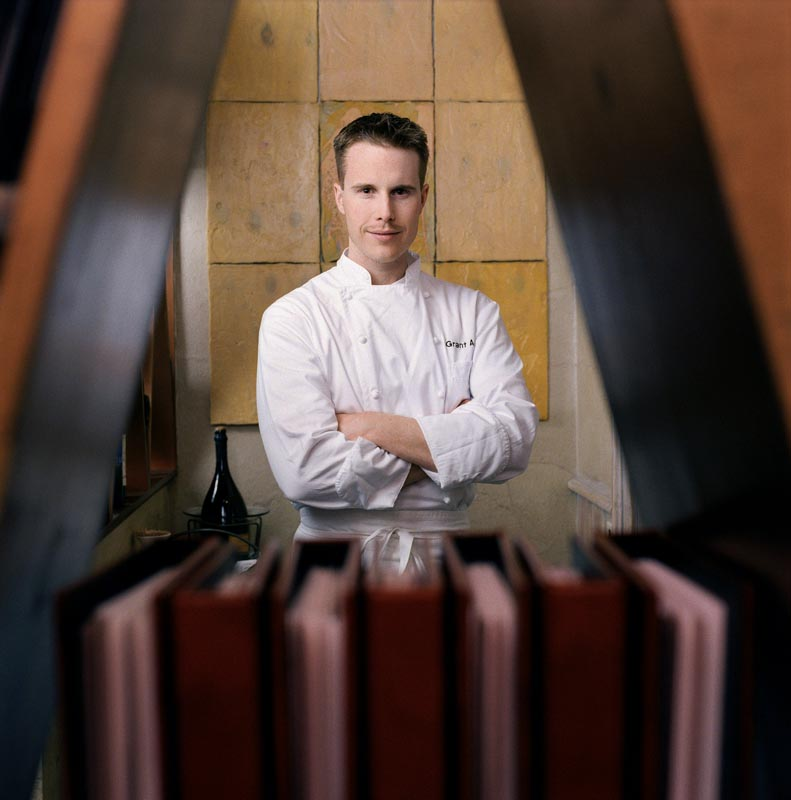 Grant Aschatz, then head chef at {quote}Trio{quote} in Evanston, IL.  The article profiled the {quote}hot{quote} new chefs around the Chicago area.