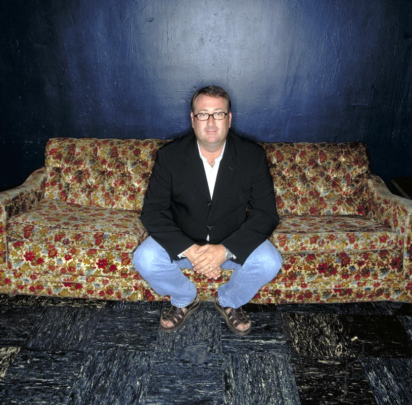 Joe Shanahan, owner of the Chicago Metro sitting in the green room .