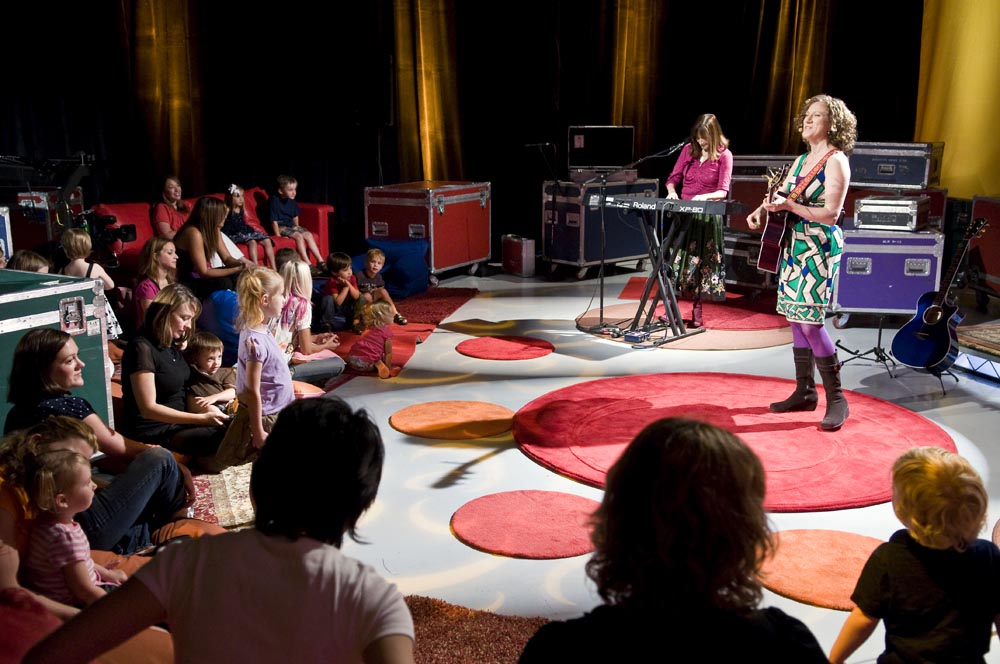 The Laurie Berkner Band performing for the children at Resolution Digital Studios.