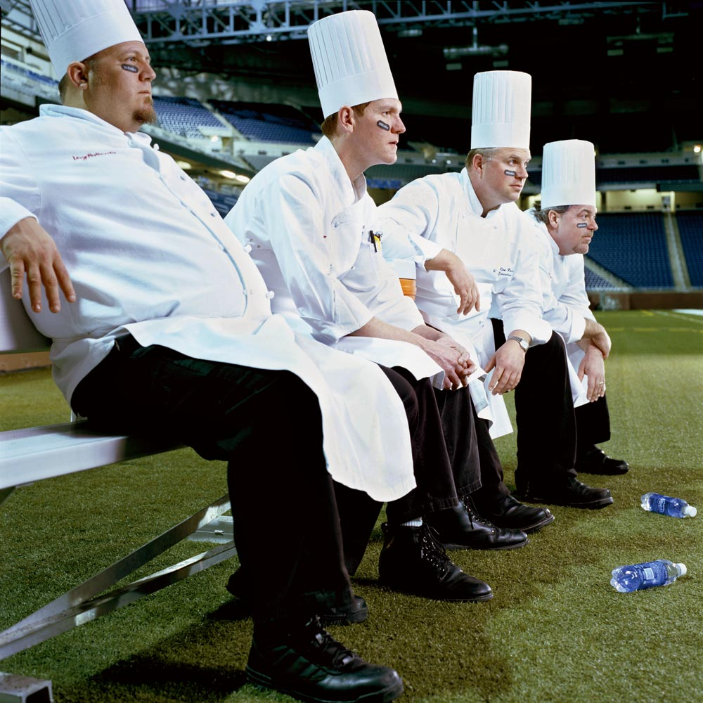 Levy's executive chefs on the sidelines of Ford Field.  The images were created for large scale, in stadium advertisement of the Levy restaurants and concessions during Superbowl XL at Detroit Field.