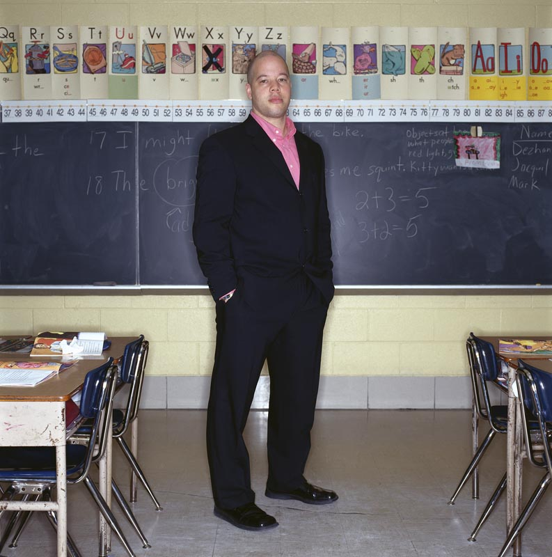 Paul Allen, 2nd grade teacher in his classroom at the Pirie Elementary School in Chicago, IL
