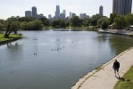 The South Pond and Chicago skyline.