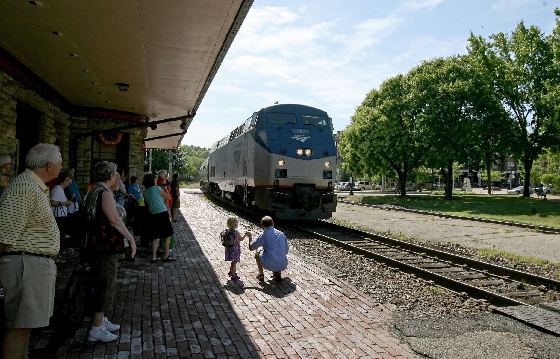 An Amtrak train rolls into the Kirkwood station on it's scheduled run to Kansas City on Saturday, June 23, 2012.  The city of Kirkwood fought to keep it's Amtrak station open, arranging for volunteers to staff to station when Amtrak wanted to close it.  Photo By David Carson, dcarson@post-dispatch.com