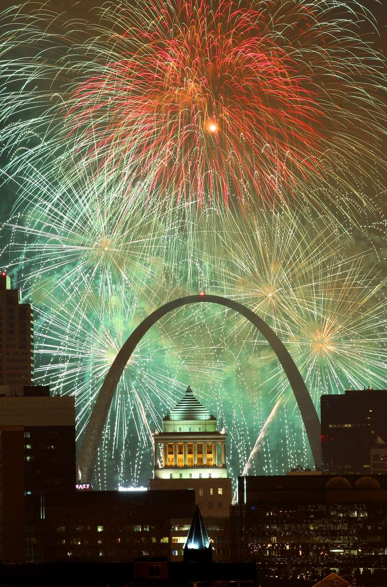 Fair St. Louis fireworks light up the St. Louis skyline on Thursday, July 4, 2013.  This picture was shot from the roof of the Pierre Chouteau building in 4400 Lindell Blvd.