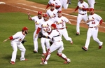 The St. Louis Cardinals celebrate their victory in Game 7 of the World Series between the Texas Rangers and St. Louis Cardinals at Busch Stadium on Friday October 28, 2011 in St. Louis.Photo by  David Carson, dcarson@post-dispatch.com