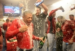 Adron Chambers, left, is doused with beer by pitcher Lance Lynn, center, in the locker room after the Cardinals won game five of the NLDS between the St. Louis Cardinals and Philadelphia Phillies at Citizens Bank Park on Friday, October 7, 2011 in Philadelphia.Photo by David Carson, dcarson@post-dispatch.com