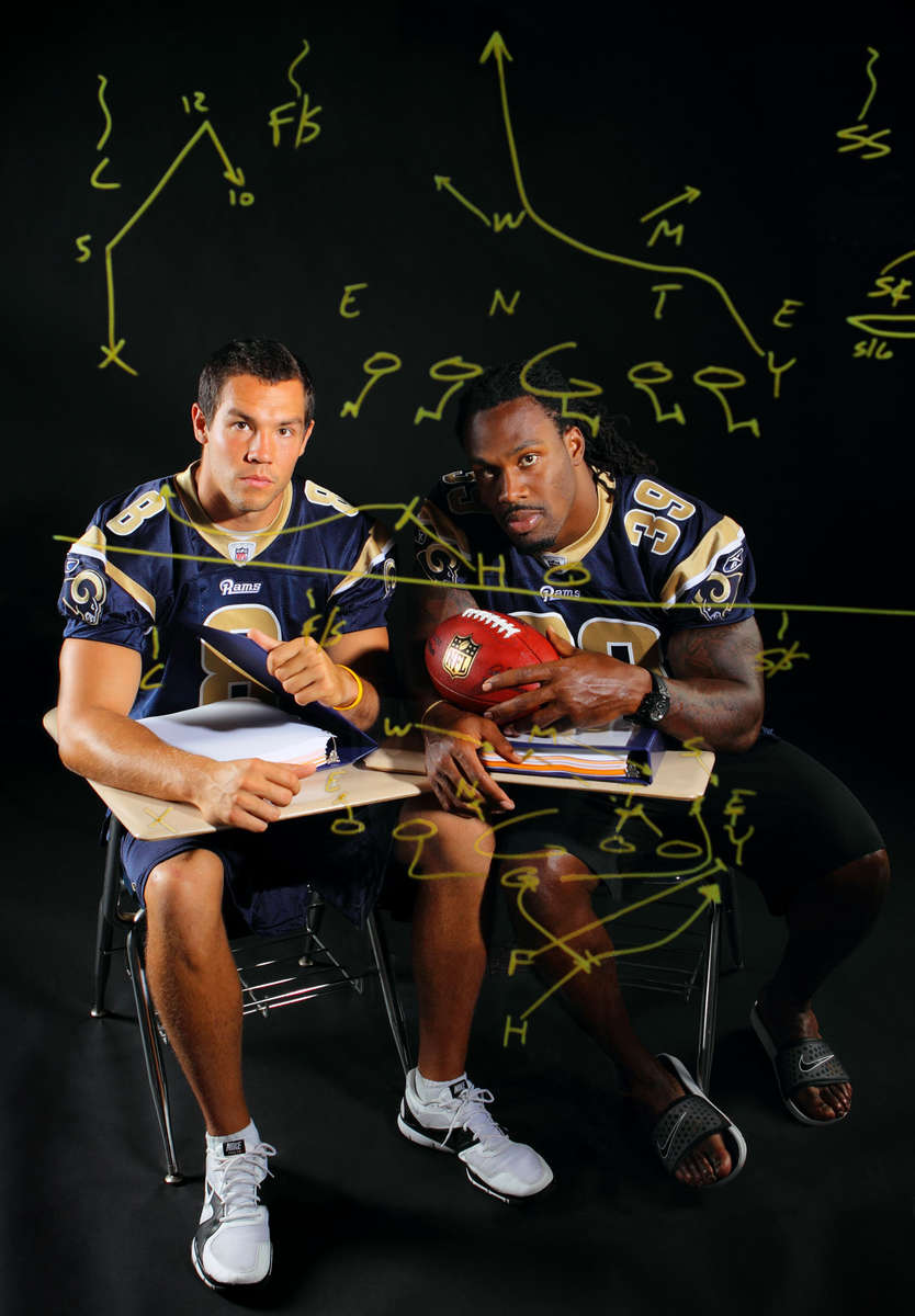 Saturday September 3, 2011--St. Louis Rams quarterback Sam Bradford, left, and running back Steven Jackson will lead the Rams revamped offense for the 2011 season.David Carson     dcarson@post-dispatch.com