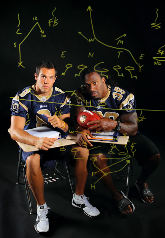 Click here to watch video--Time lapse of a photo shoot with the St. Louis Rams Sam Bradford and Steven Jackson at Rams Park in Earth City, Mo.