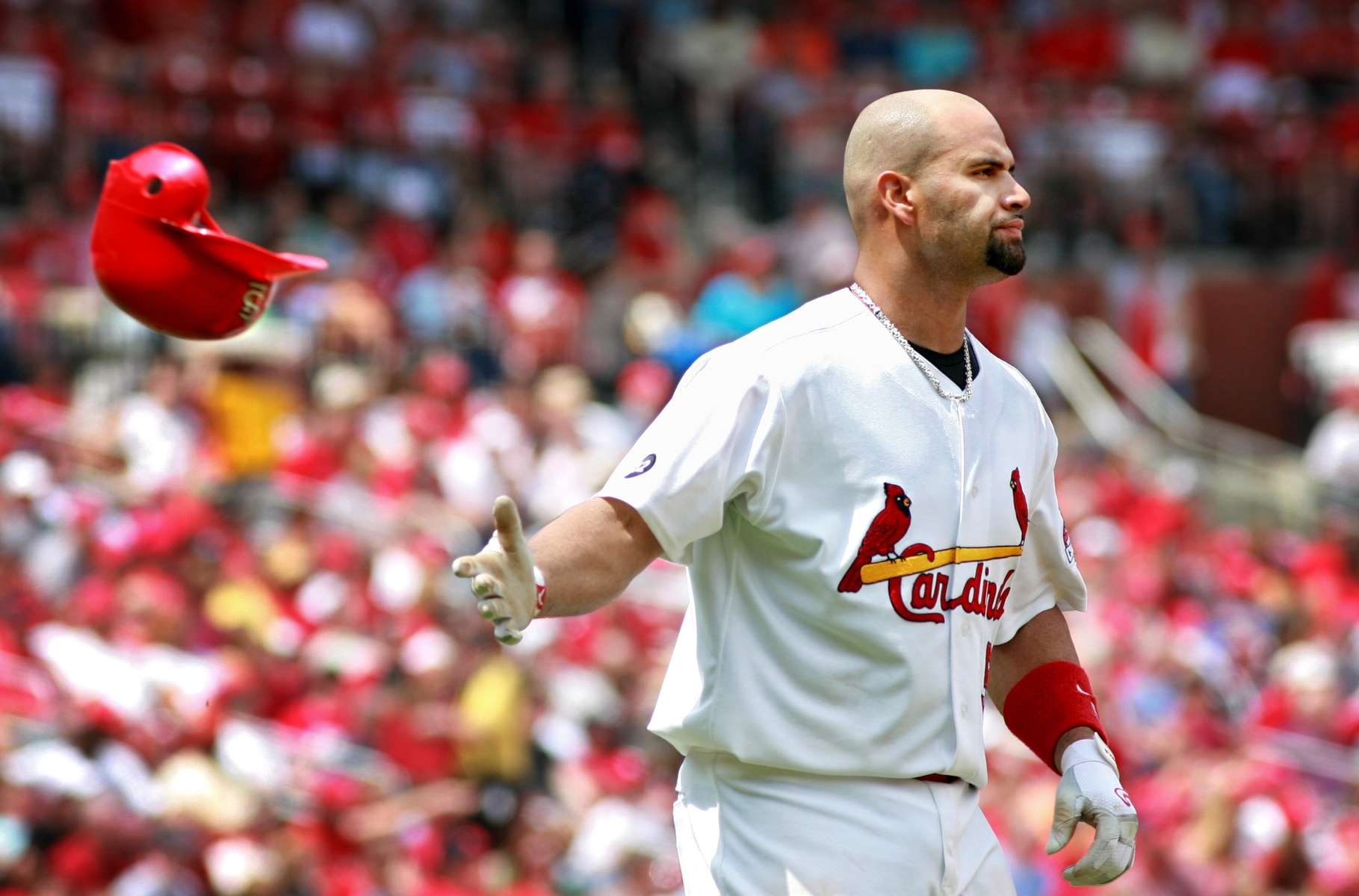 Saturday May 5, 2007--Albert Pujols flips is helmet to the bench after lining out to end the sixth inning of Saturday's game agains the Astros at Busch Stadium.  Pujols went 0-4 on the day striking out once and ending his 12 game hitting streak.  The Cardinals offense was lacking all day as they were shutout 13-0 and managed only four hits on the day.David Carson | Post-Dispatch