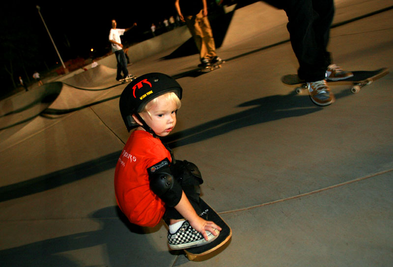 Click here to view--Benjamin Lomax, 2, first began skate boarding about a year ago when his father Johnnie Lomax put him on a board.  At the skate park cries of {quote}look at him{quote} come rolling out of the crowd gathered along the sides.