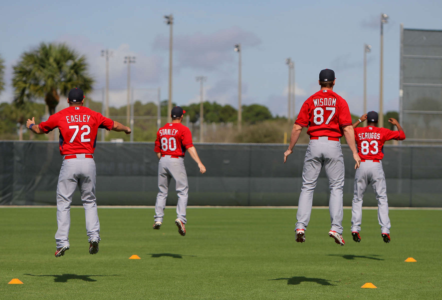 St. Louis Cardinals players go through morning exercises at the Cardinals spring training complex at Roger Dean Stadium in Jupiter, Fla. on Monday, Feb. 24, 2014.Photo By David Carson dcarson@post-dispatch.com