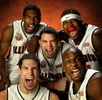 The 2005 Illinois mens basketball team Luther Head, top left, Dee Brown, top right, Deron Williams, center, James Augustine, bottom left, and Roger Powell, bottom right, display some of the fire that propelled them to finisht the regular season 29-1 in Champagne, Ill. on Thursday March 3, 2005.