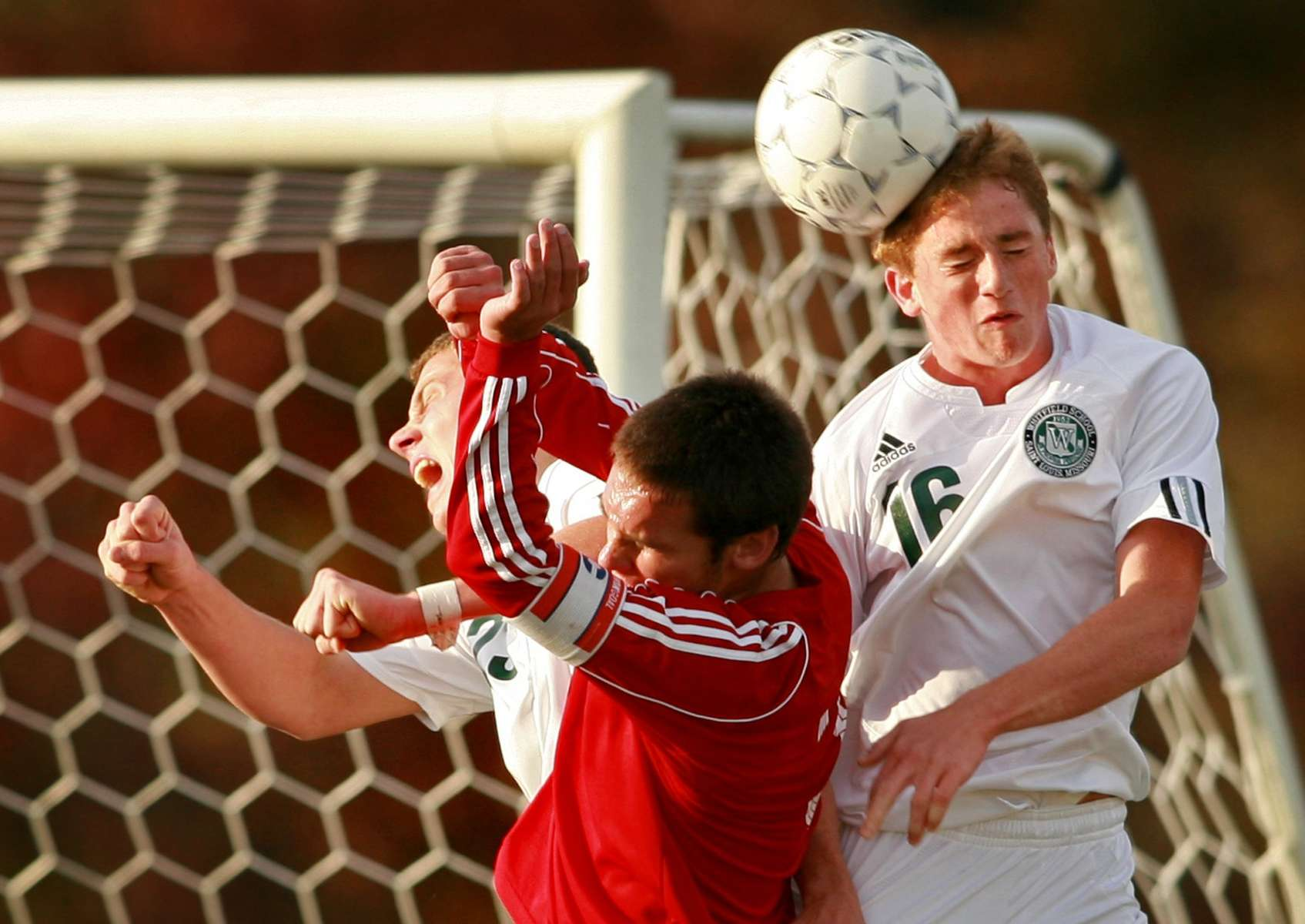 Saturday November 10, 2007--Whitfield's Michael Jordan, left, and Matt Chabot clear a ball intended for Pembroke Hill's Will Wurster during the second half of the MSHSAA class 1 boys soccer championship game on Saturday in Fenton.  Whitfield won the game 2-1.David Carson | Post-Dispatch