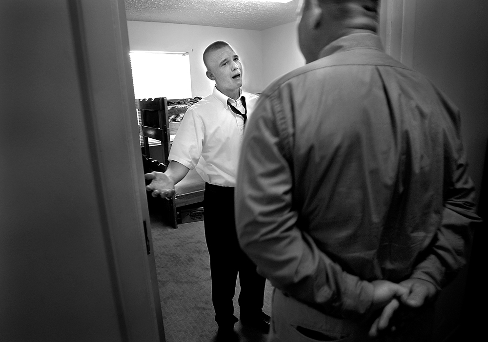 For many of the boys, breaking rules, defying elders, and the need for acceptance among their peers, is second nature. When this behavior is displayed at the home, consequences are harsh. After being caught breaking into a locked towel closet, Brady Peters, 16, cries and pleads as he is confronted by Col. Alan Weierman before Sunday church services. Peters, who was demoted down to entry level status in the program, claimed he did the deed on a dare from some of the other boys.
