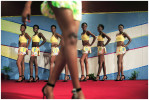 Contestants in the Miss Congo pageant on stage for the final at the Grand Hotel, Kinshasa, DRC, 2006