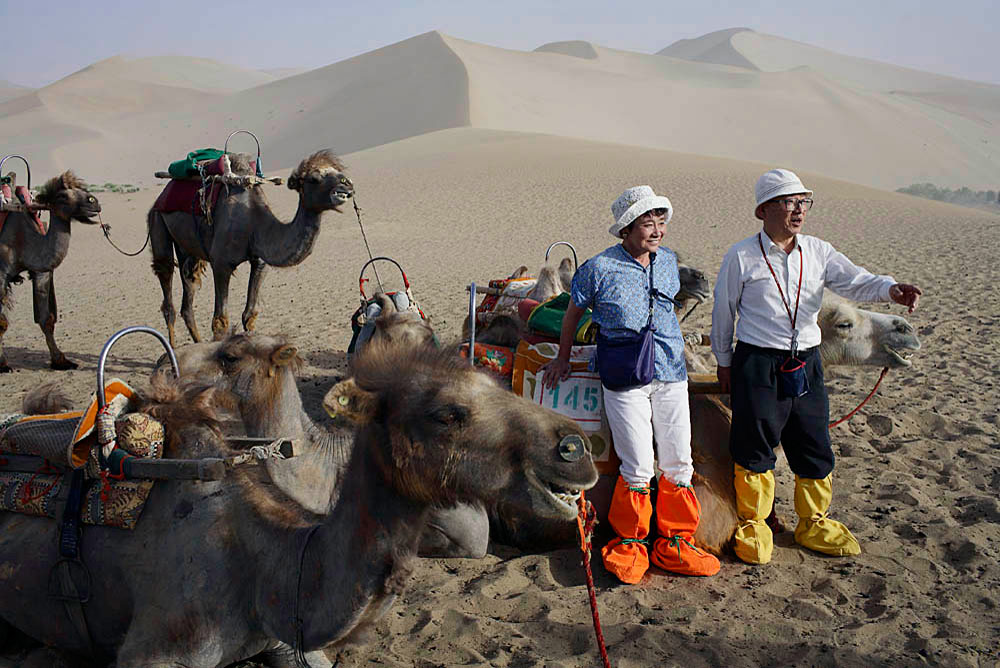 Chinese tourists pose for pictures with camels at the desert dunes in the Gobi desert, DunHuang, China, 2007