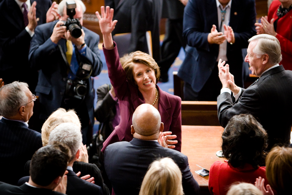 Rep. Nancy Pelosi (D-CA) shortly before being sworn in as America's first female speaker of the House.