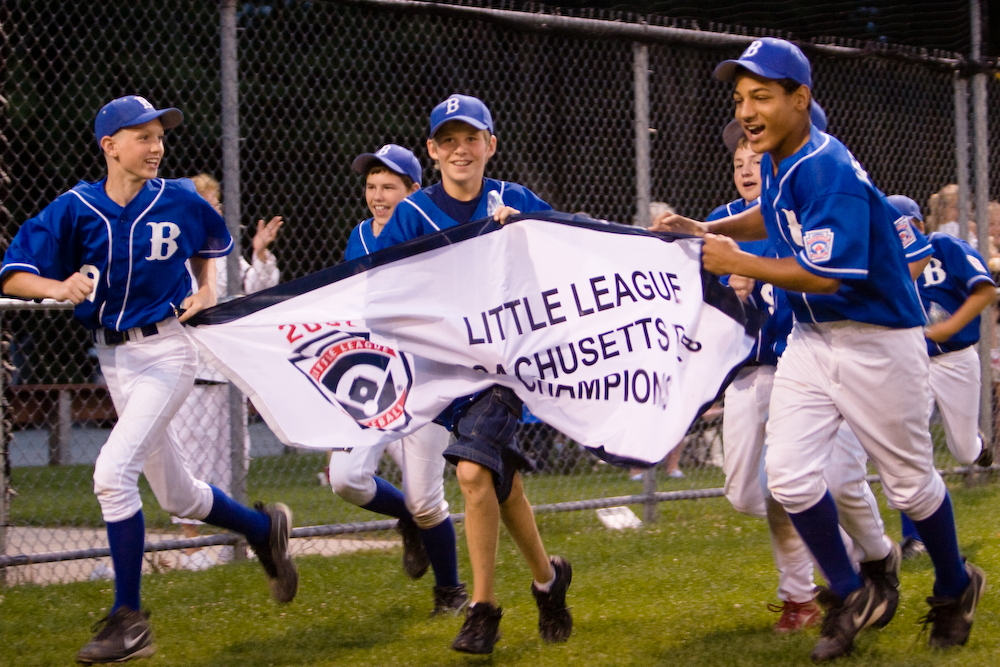 Braintree American Little Leaguers celebrate their district championship.