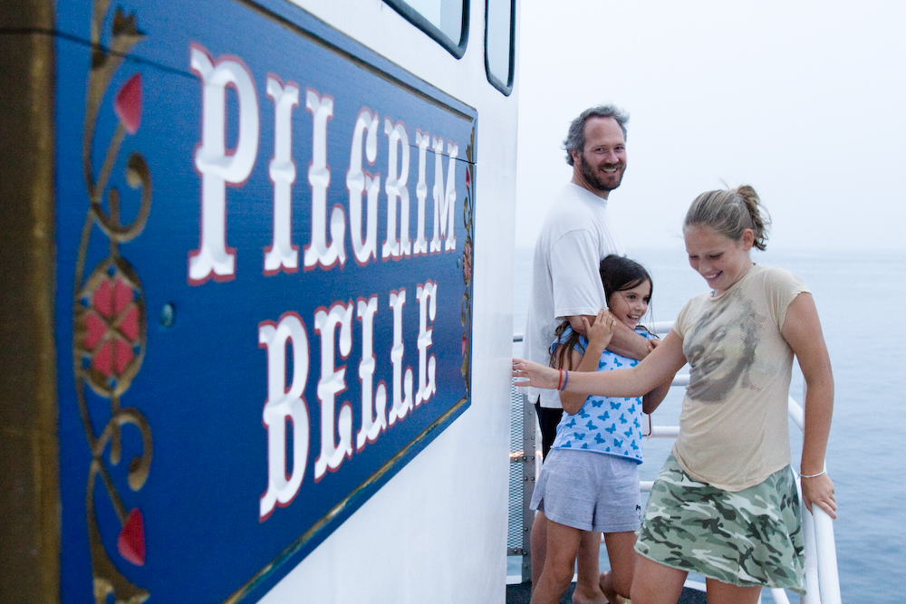 Aboard the Pilgrim Belle.