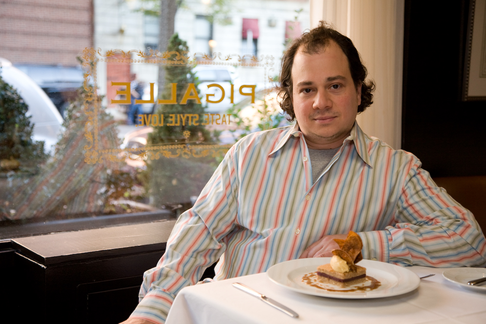 Pigalle owner and chef Marc Orfaly with his pumpkin-peanut butter mousse.