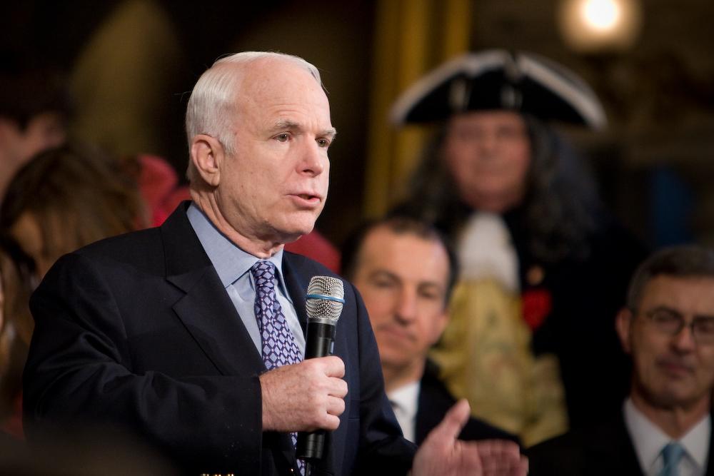 Republican presidential candidate Sen. John McCain (R-AZ) at a rally at Faneuil Hall.