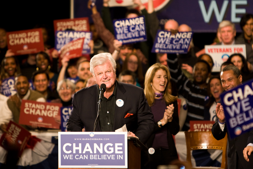 Sen. Ted Kennedy (D-MA) supports Sen. Barack Obama at a rally.