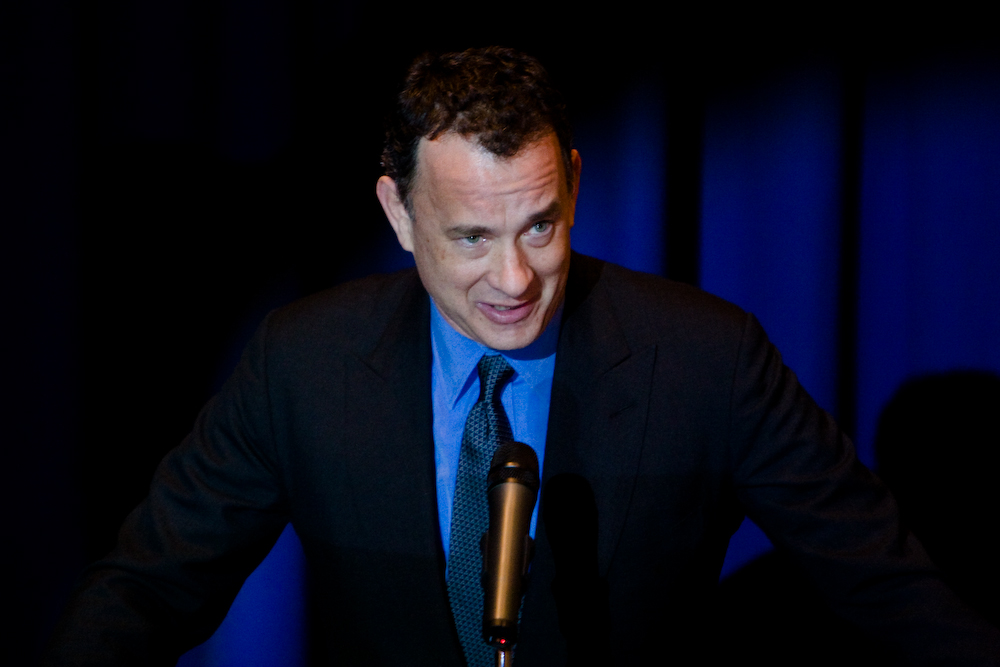 Actor Tom Hanks at the Boston Public Library for a screening and reception for {quote}John Adams,{quote} the HBO miniseries. Hanks is the executive producer.