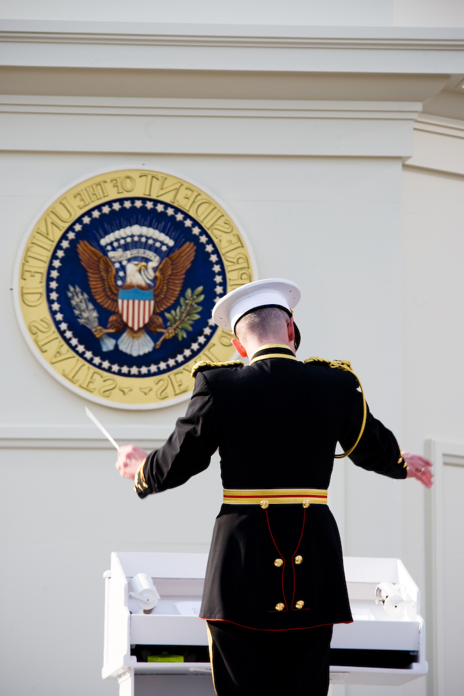 The conductor of the United States Marine Band during the swearing-in ceremony of Barack Obama.