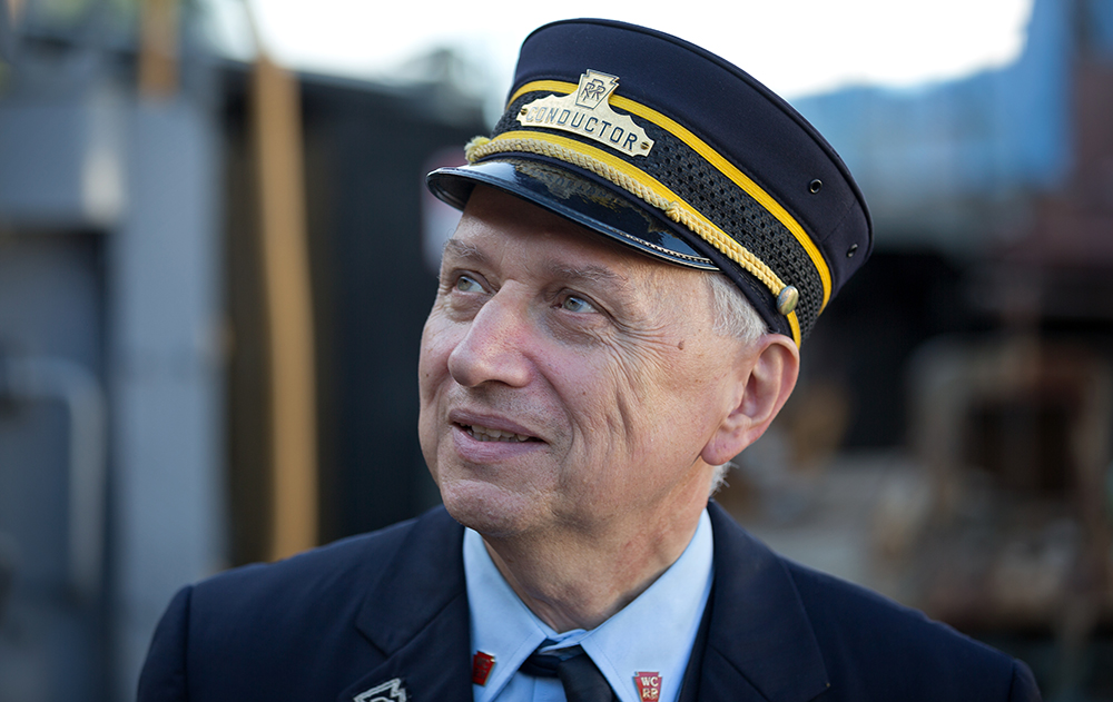 Frank Moscatelli, a physics professor at Swarthmore College, volunteers as a conductor on the West Chester Railroad.