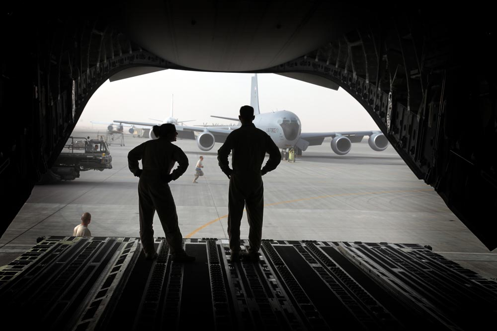 Airmen from McGuire AFB in Wrightstown, NJ make the daily  flight to supply troops in Afghanistan.